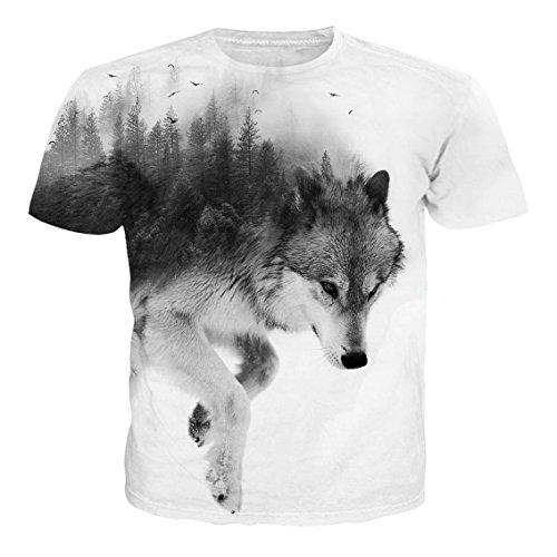 camiseta blanca con la imagen de un lobo