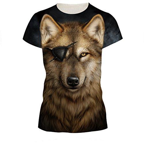 camiseta de manga corta negra con imagen de un lobo con un parche en un ojo