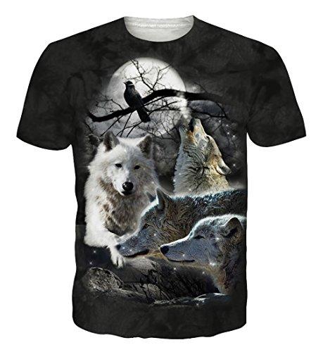 camiseta negra con lobos